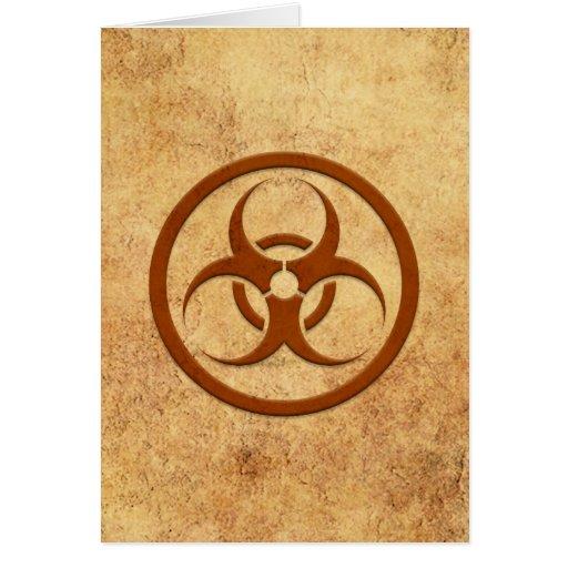 Aged and Worn Bio Hazard Circle Greeting Cards