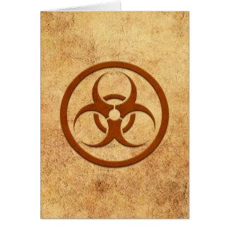 Aged and Worn Bio Hazard Circle Greeting Card