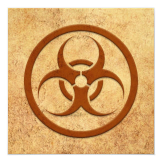 Aged and Worn Bio Hazard Circle Personalized Invite