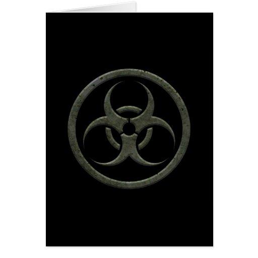 Aged and Worn Bio Hazard Circle on Black Card