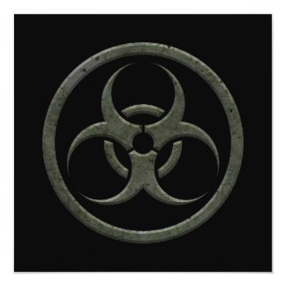 Aged and Worn Bio Hazard Circle on Black Custom Invitation