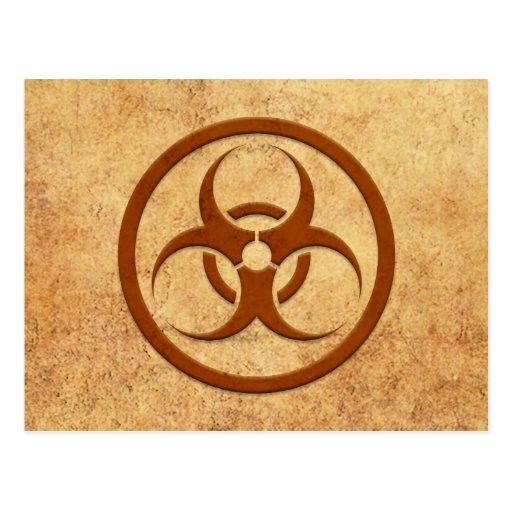 Aged and Worn Bio Hazard Circle Post Card