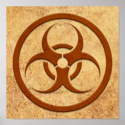 Aged and Worn Bio Hazard Circle Poster