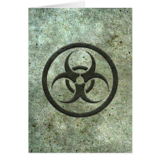Aged and Worn Bio Hazard Circle with Steel Effect Card