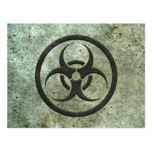 Aged and Worn Bio Hazard Circle with Steel Effect Post Card