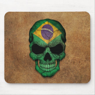 Aged and Worn Brazilian Flag Skull Mouse Pad