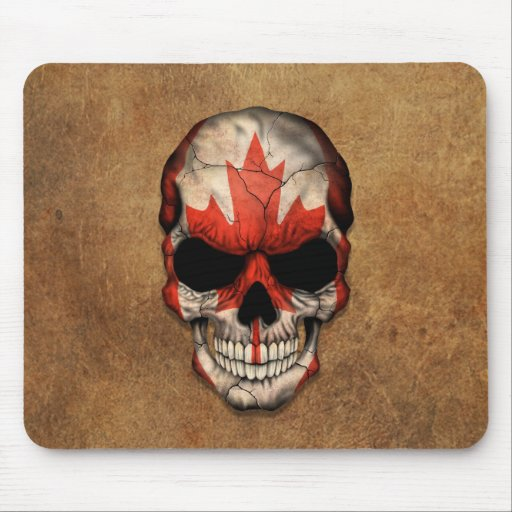 Aged and Worn Canadian Flag Skull Mouse Pad