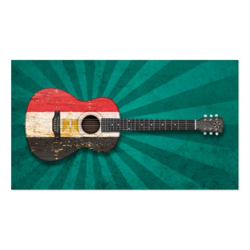Aged and Worn Egyptian Flag Acoustic Guitar, teal Business Card Templates