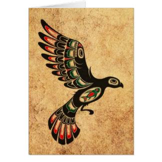 Aged and Worn Flying Haida Spirit Bird Card