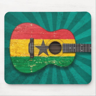 Aged and Worn Ghana Flag Acoustic Guitar, teal Mouse Pad