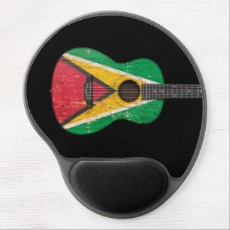 Aged and Worn Guyana Flag Acoustic Guitar, black Gel Mousepads