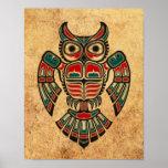 Aged and Worn Haida Spirit Owl Poster