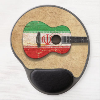 Aged and Worn Iranian Flag Acoustic Guitar Gel Mouse Pad