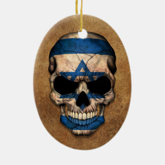 Aged and Worn Israeli Flag Skull Ceramic Ornament