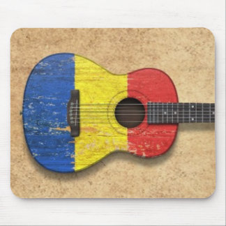 Aged and Worn Romanian Flag Acoustic Guitar Mouse Pad