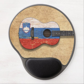 Aged and Worn Slovenian Flag Acoustic Guitar Gel Mouse Pad