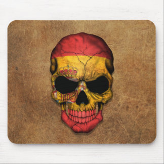 Aged and Worn Spanish Flag Skull Mouse Pad