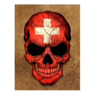 Aged and Worn Swiss Flag Skull Post Card