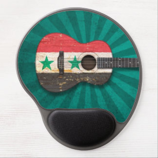 Aged and Worn Syrian Flag Acoustic Guitar, teal Gel Mousepads