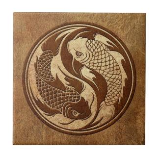 Aged and Worn Yin Yang Koi Fish Tile