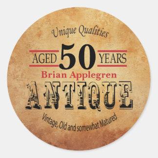 Aged, Antique and Vintage 50th Birthday Design Classic Round Sticker