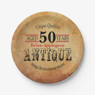 Aged, Antique and Vintage 50th Birthday Design Paper Plate