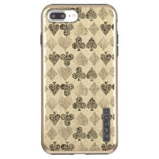 Aged Antiqued Beige Damask Card Suit Heart Diamond Incipio DualPro Shine iPhone 7 Plus Case