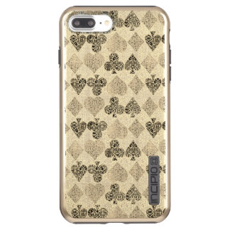 Aged Antiqued Beige Damask Card Suit Heart Diamond Incipio DualPro Shine iPhone 8 Plus/7 Plus Case