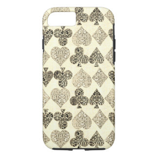 Aged Antiqued Beige Damask Card Suit Heart Diamond iPhone 7 Case