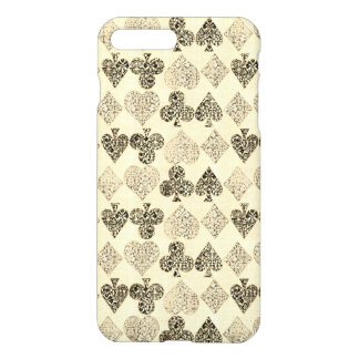 Aged Antiqued Beige Damask Card Suit Heart Diamond iPhone 7 Plus Case