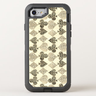 Aged Antiqued Beige Damask Card Suit Heart Diamond OtterBox Defender iPhone 8/7 Case