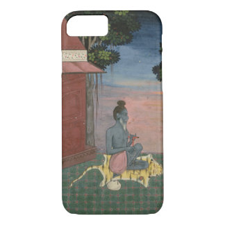 Aged ascetic seated on a tiger skin outside a buil iPhone 7 case