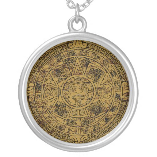 Calendar Extender Design : Aged aztec mayan sun stone calendar personalized necklace