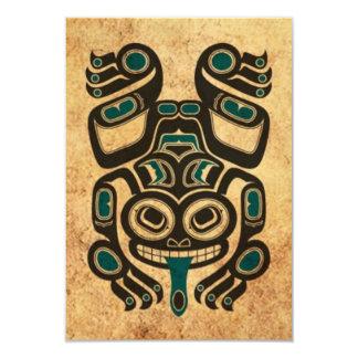 "Aged Blue and Black Haida Spirit Tree Frog 3.5"" X 5"" Invitation Card"