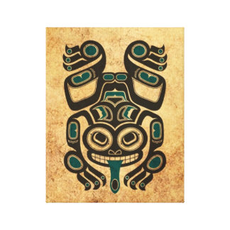 Aged Blue and Black Haida Spirit Tree Frog Canvas Print