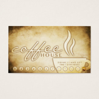 aged coffee house loyalty card