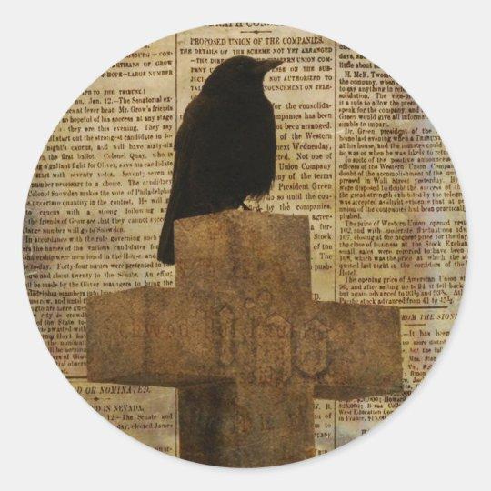 Aged Crow Classic Round Sticker