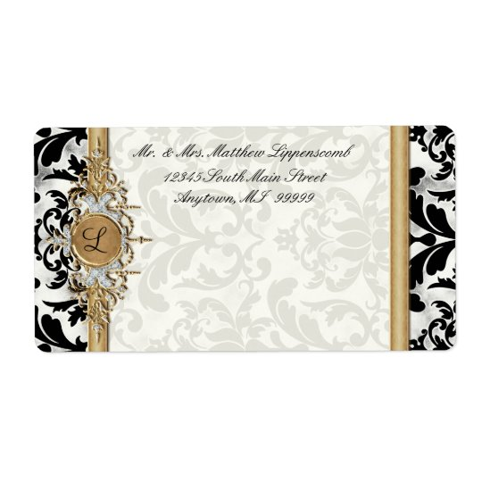 Aged Distressed Damask Golden Bling Look Wedding Shipping Label