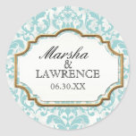 Aged Distressed Damask Golden Bling Look Wedding Stickers