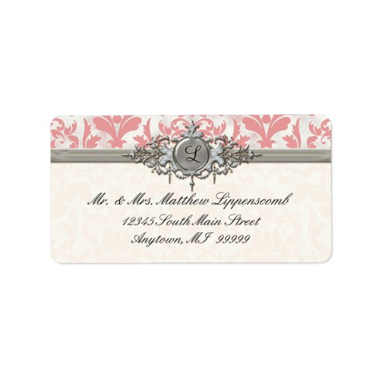 Aged Distressed Damask Silver Bling Look Wedding