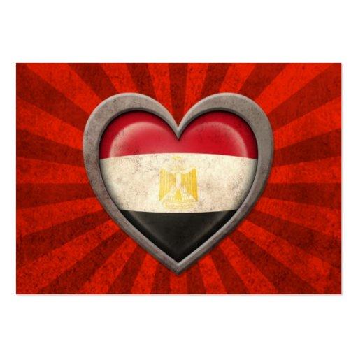 Aged Egyptian Flag Heart with Light Rays Business Card Templates