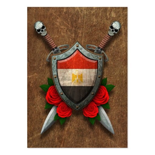 Aged Egyptian Flag Shield and Swords with Roses Business Card