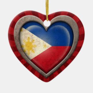 Aged Filipino Flag Heart with Light Rays Ceramic Heart Ornament
