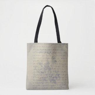 Aged Floral Letter Tote Bag