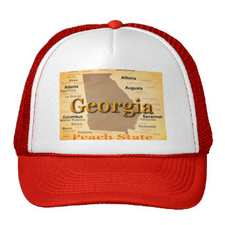 Aged Georgia State Pride Map Silhouette Hats