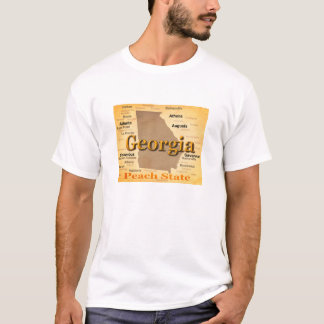 Aged Georgia State Pride Map Silhouette T-Shirt