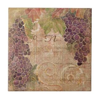 Aged Grape Vineyard Watercolor Home Decor Tile