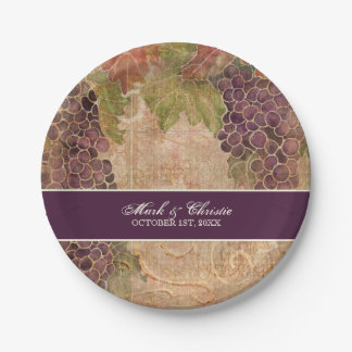 Aged Grape Vineyard Wedding Reception Decor Paper Plate