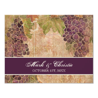 Aged Grape Vineyard Wedding RSVP Response Card Custom Invite