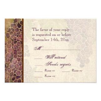 Aged Grape Vineyard Wedding RSVP Response Card